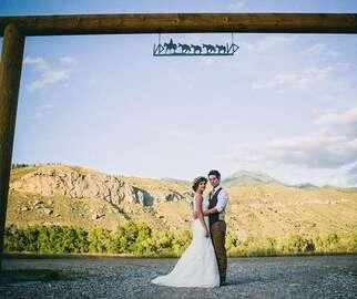 Idaho Desert Wedding couple under archway