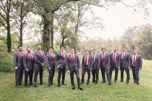 Groomsmen in Dark Gray Suits With Red Ties