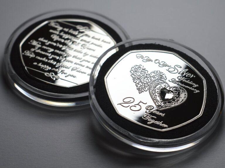 Commemorative 25th wedding anniversary silver coin