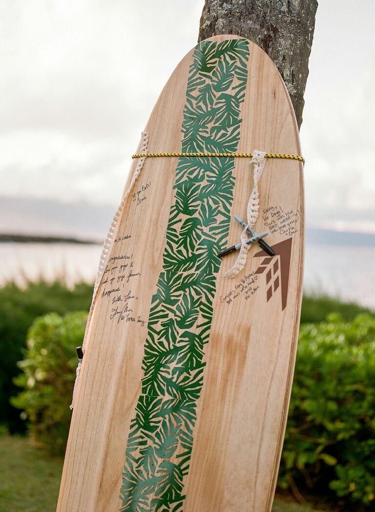 Surfboard guest book with handwritten messages