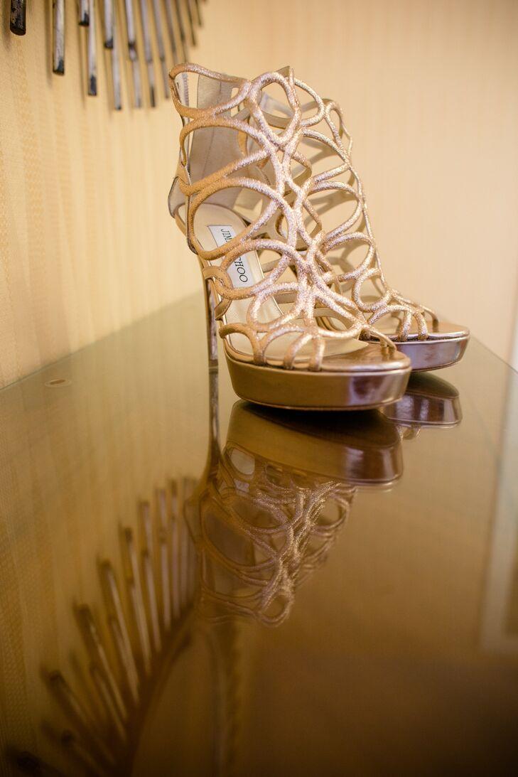 Gold Jimmy Choo Platform Heels