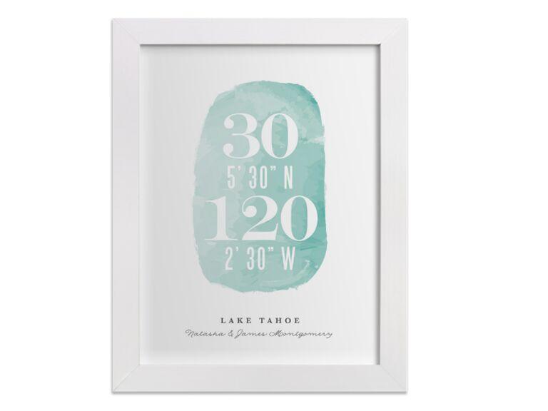 Watercolor coordinates art print bridal shower gift idea