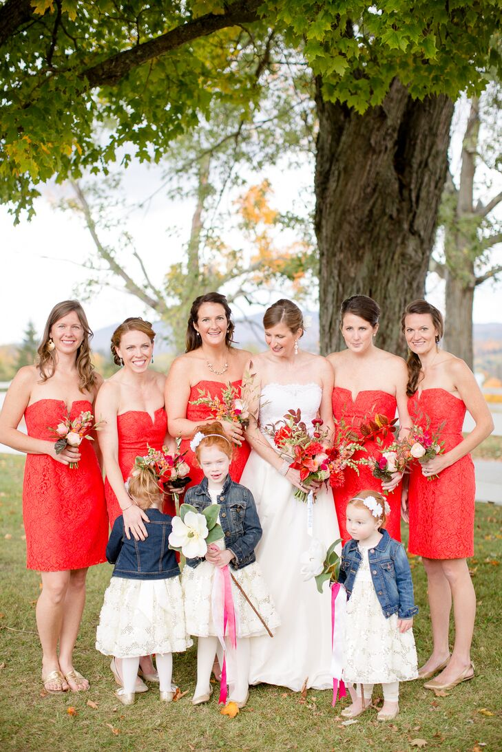 Bride and 'maids in Poppy Hued J.Crew Dresses