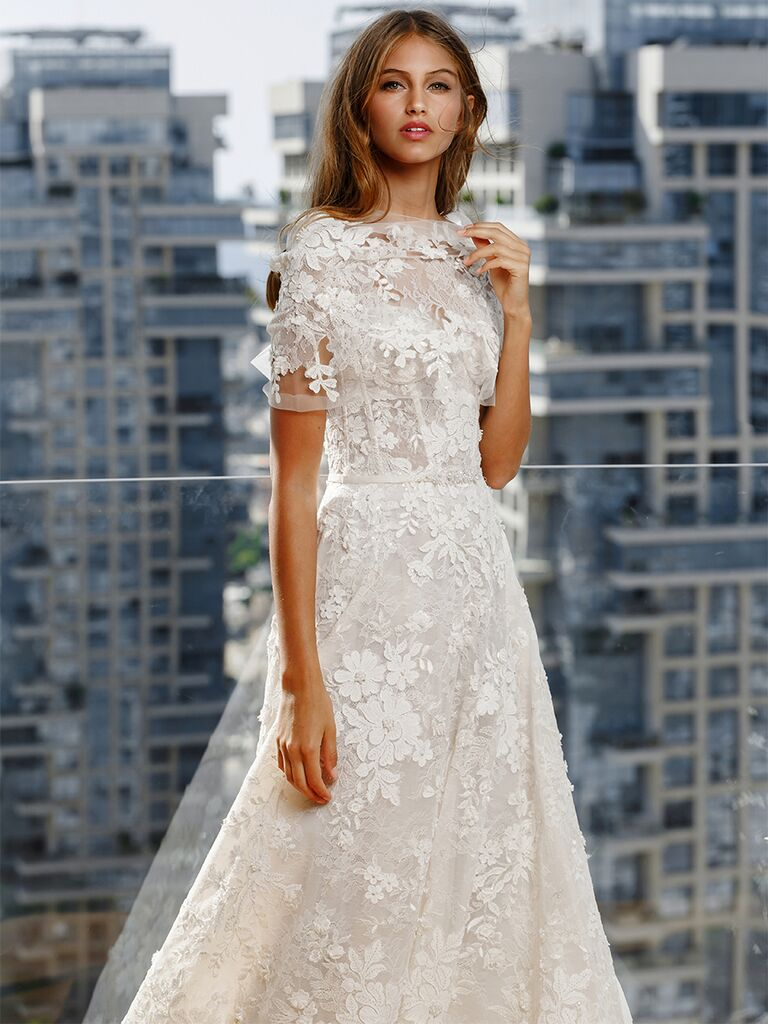 Mira Zwillinger dress with textured floral appliques