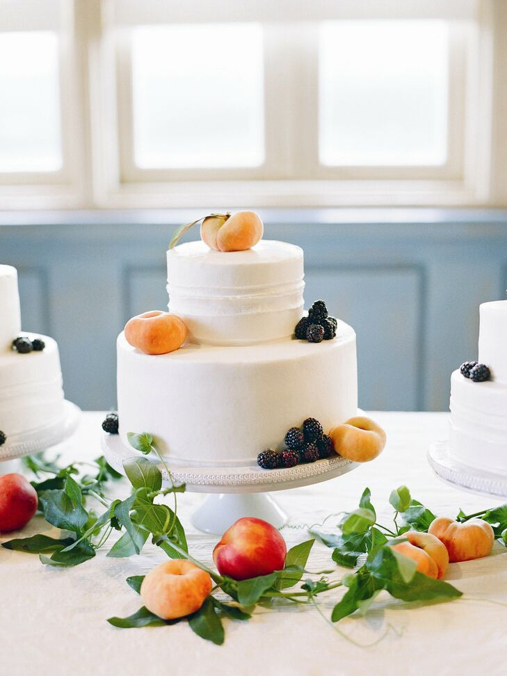 The couple served three cakes--one almond, one carrot and a caramel-flavored one for Brandon--adorned with passion flower vine, fresh peaches and blackberries.