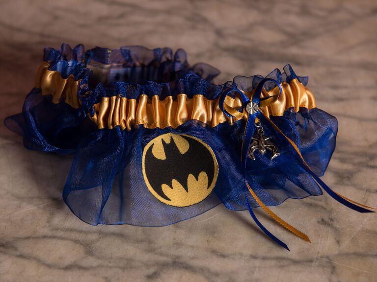 Batman-themed wedding garter