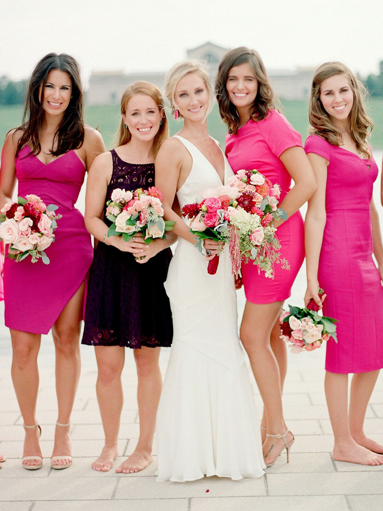 These mismatched bridesmaid dresses are the hottest trend hot pink mismatched bridesmaid dresses ombrellifo Images