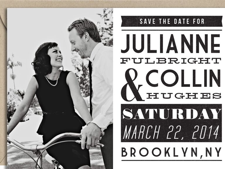 graphic black and white save the date from paper source