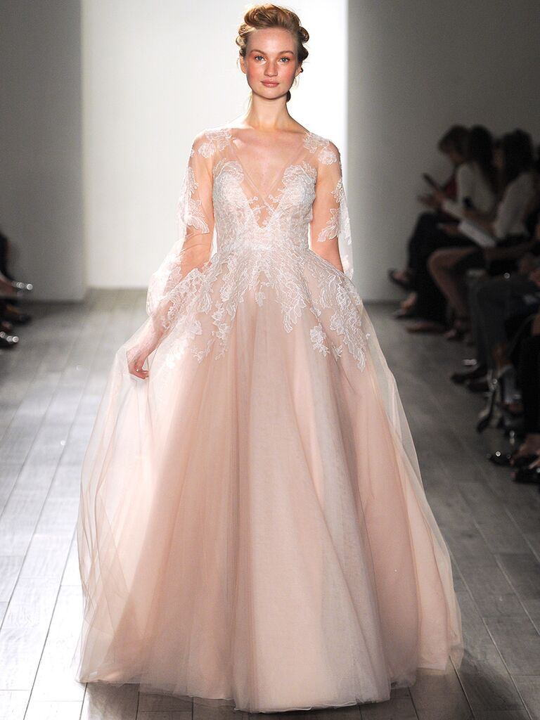 Long Sleeved Blush Pink Hayley Paige Wedding Gown