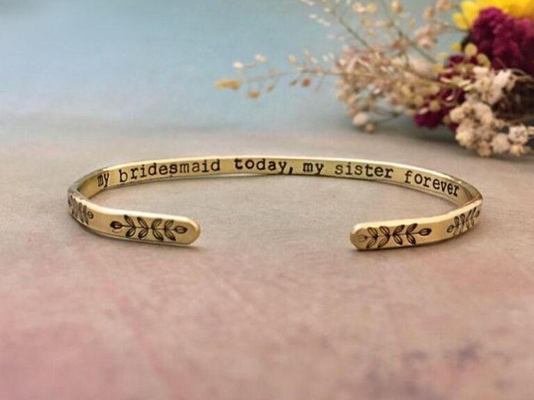 Bridesmaid bracelet for sister
