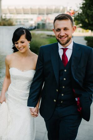 Strapless Lace Trumpet Dress and Navy Suit