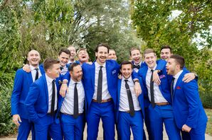 Groomsmen with Royal-Blue Suits and Black Ties