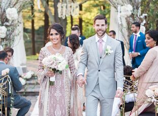 Timeless mauve, gray, cream and gold hues brought Sadaf Ali (31 and a municipal credit analyst) and Timothy James (TJ) Morbelli's (33 and a corporate