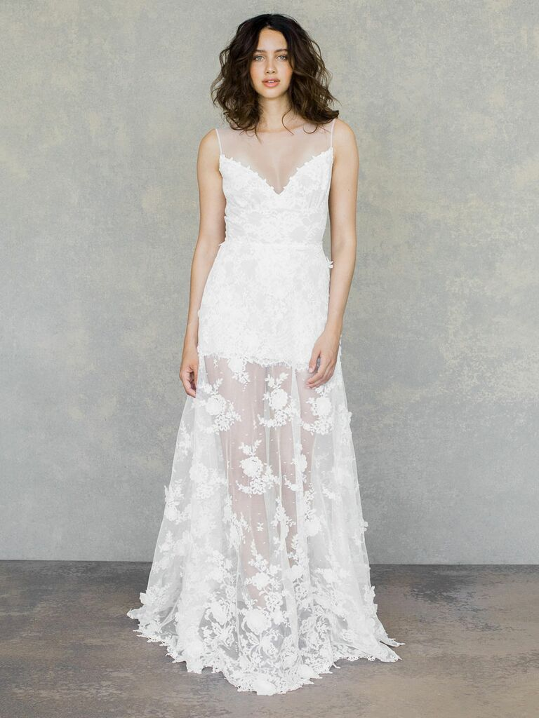 Claire Pettibone Spring 2019 sleeveless lace gown with sheer panel