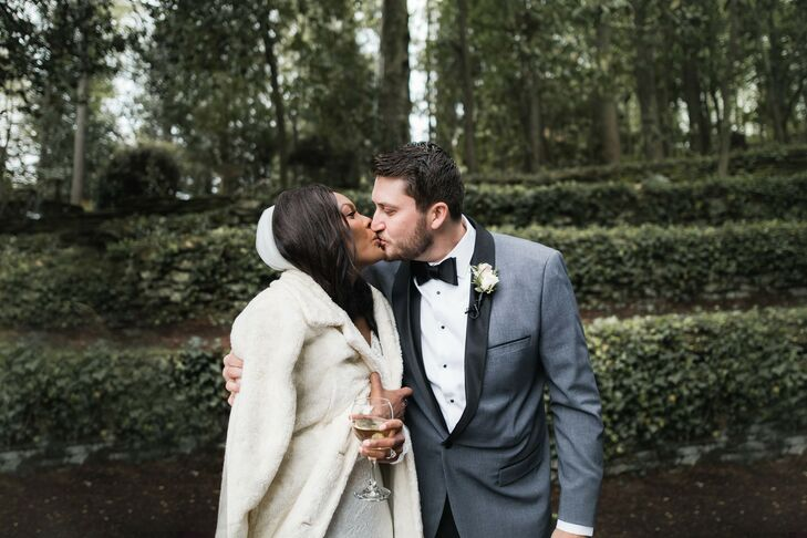 Couple Shares Kiss at Wedding at Dunaway Gardens in Newnan, Georgia