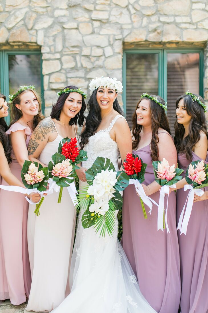 Bride and Bridesmaids with Tropical Bouquets