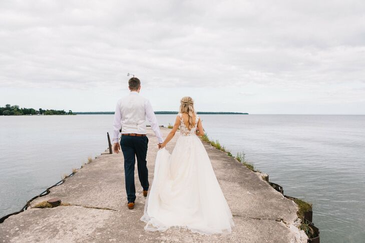 Bride and Groom Along Waterfront