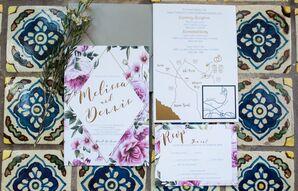 Geometric Purple Floral Invitations