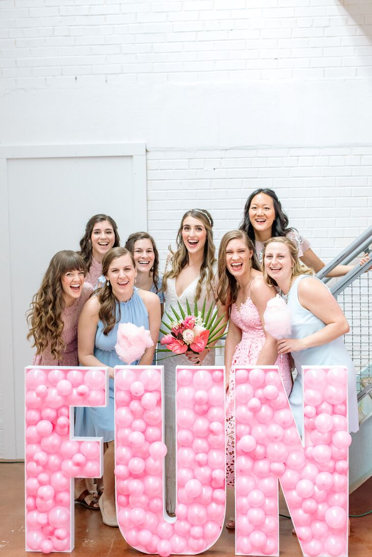 Bridal Party with Modern Pink Balloon Sign