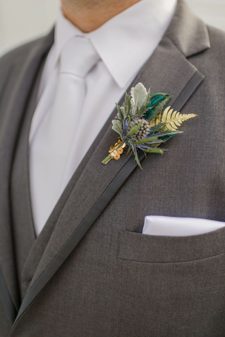 Blue Thistle and Gold-Leaf Boutonnieres