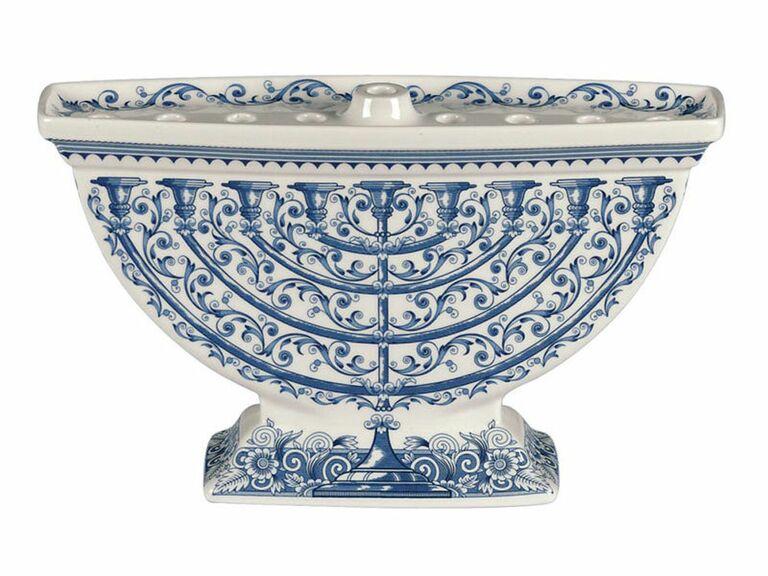White and blue china-inspired menorah