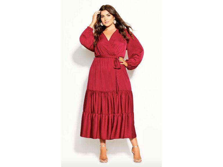 Autumn color Knee-length dress Wine red wrap dress Everyday Dress Jersey Wrap Dress Fall fashion V-neck dress Burgundy jersey dress