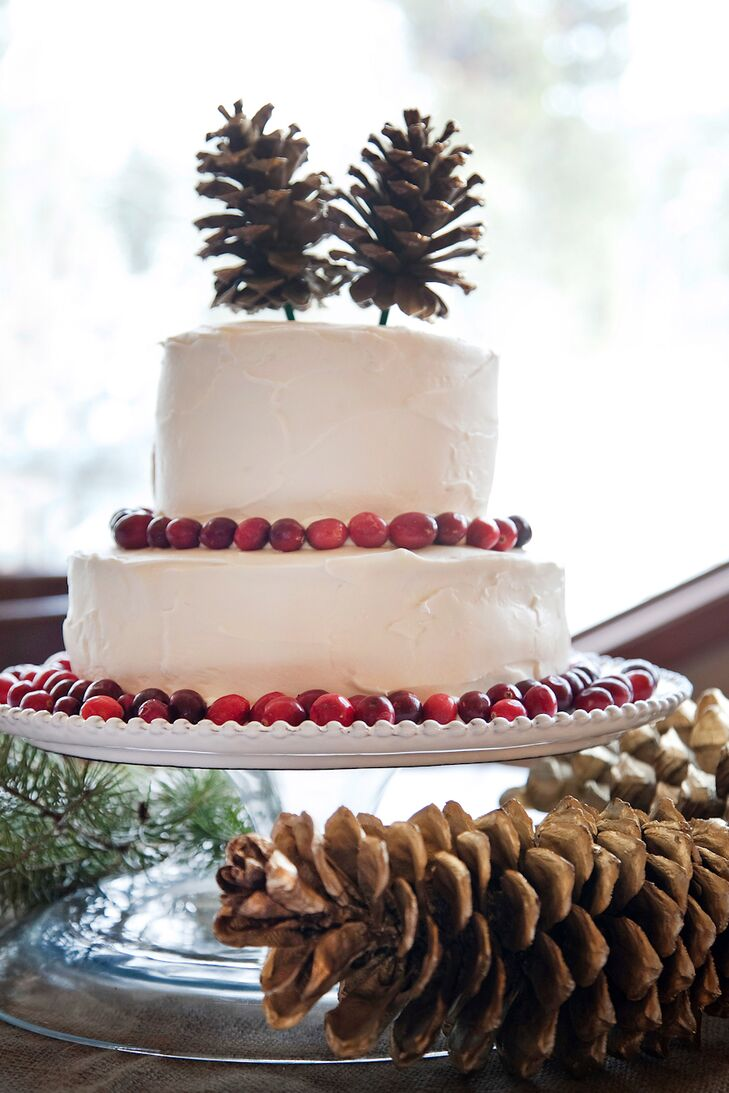 Bryanna's sister made the rustic, winter-inspired wedding cake decorated with white buttercream frosting, red cranberries and pinecones on the top.