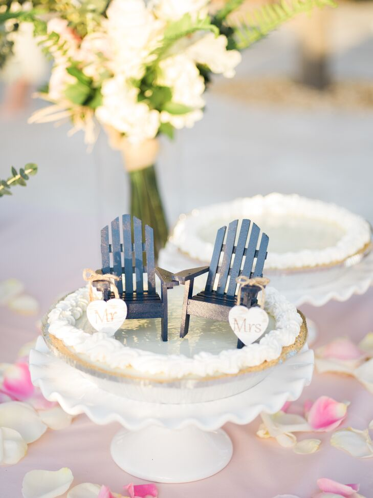 """""""No wedding cake for us,"""" Nicole says. Instead, guests savored key lime pies."""