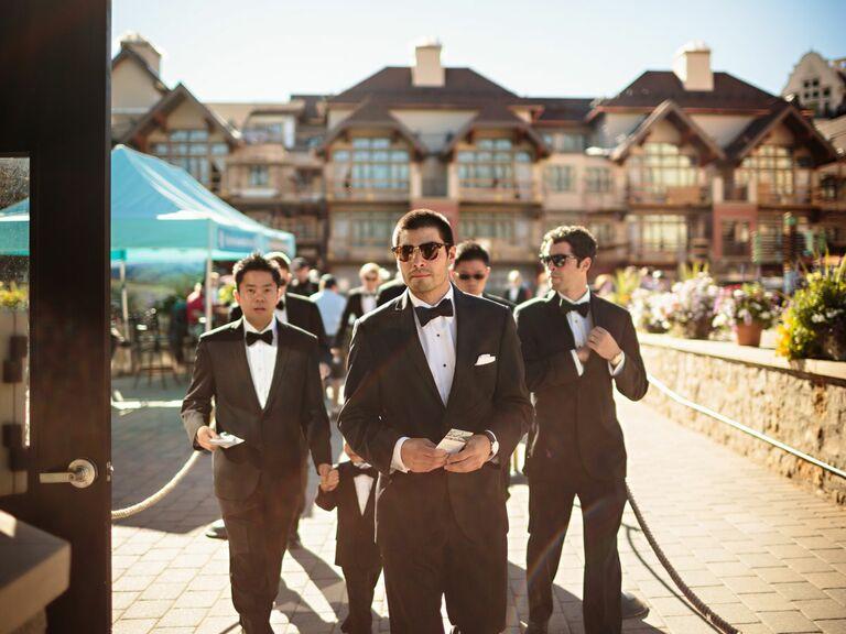 Classic Vera Wang groomsmen tuxedos
