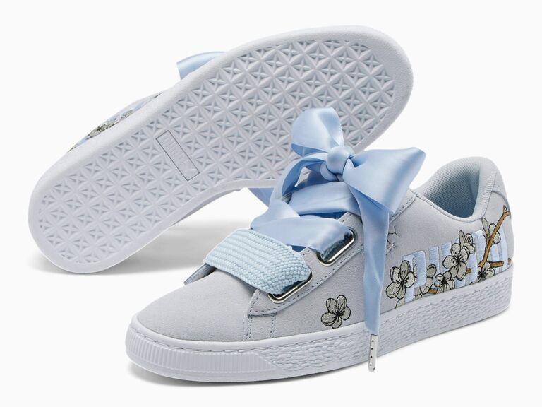 Blue ribbon wedding sneakers