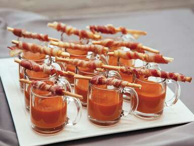 tomato soup and bacon wrapped breadsticks wedding appetizer