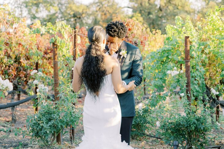 Emotional First Look at Wedding in Yountville, California