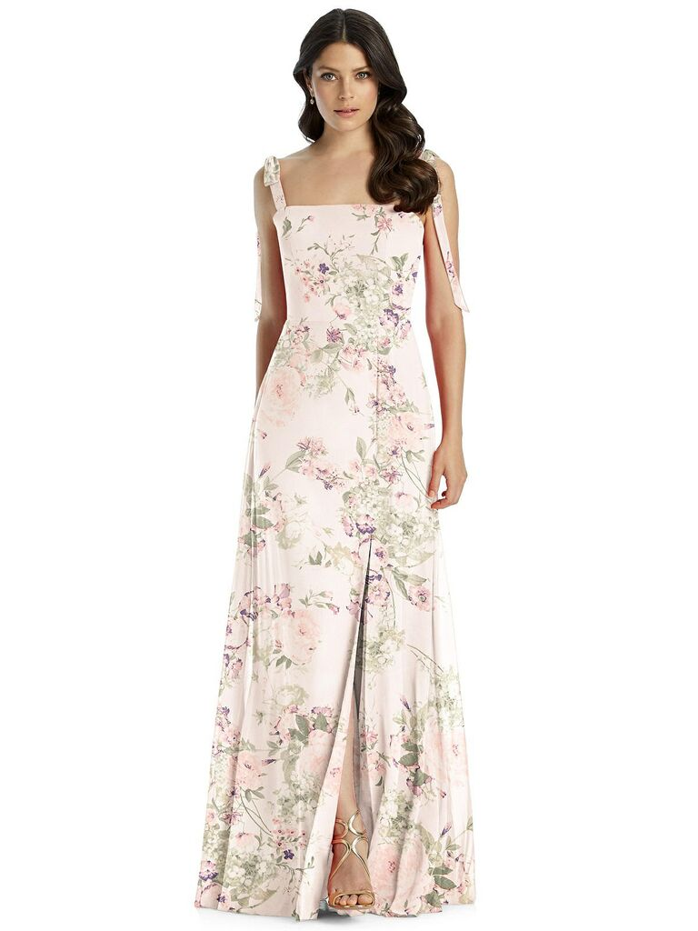 Blush floral bridesmaid dress with tie straps
