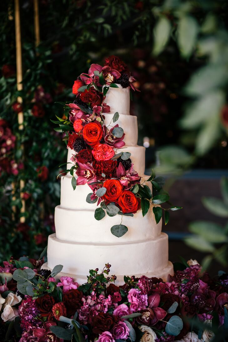 Simple Tiered Cake with Moody Purple and Red Florals