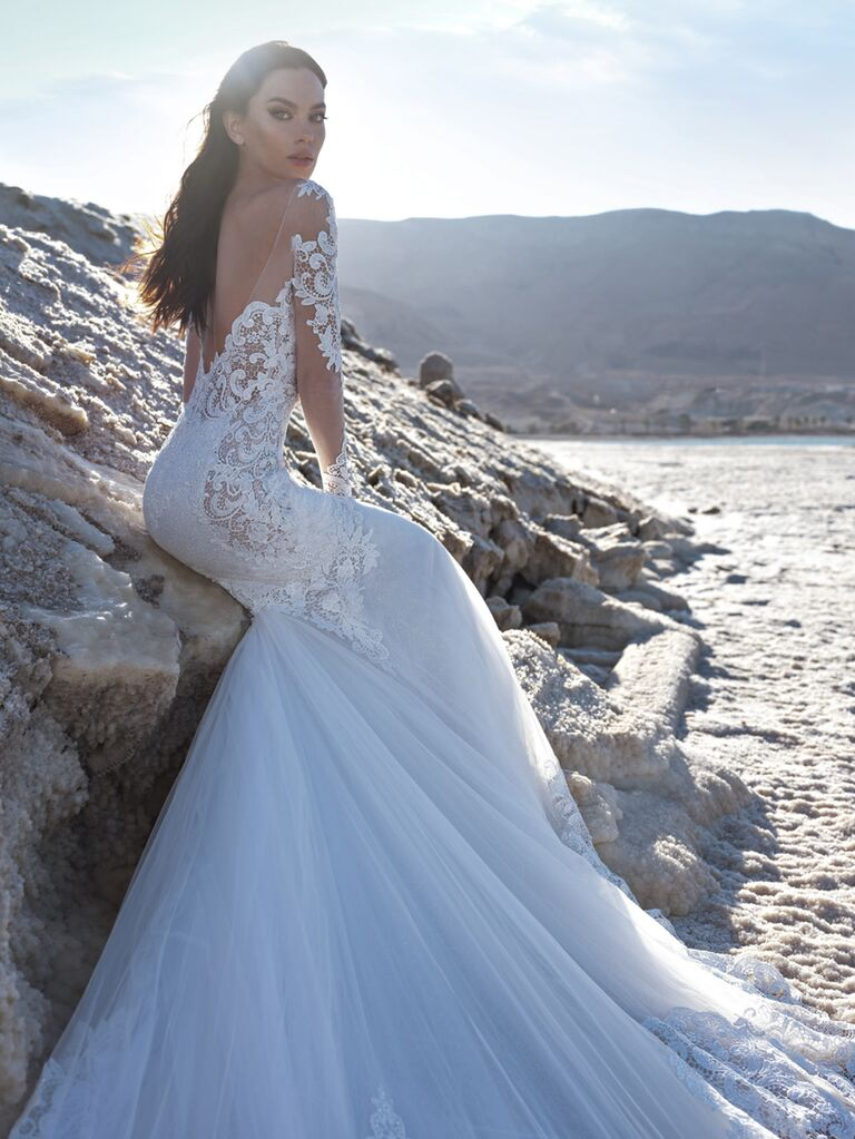 Pnina Tornai Spring 2020 Bridal Collection illusion lace fit-and-flare wedding dress with train