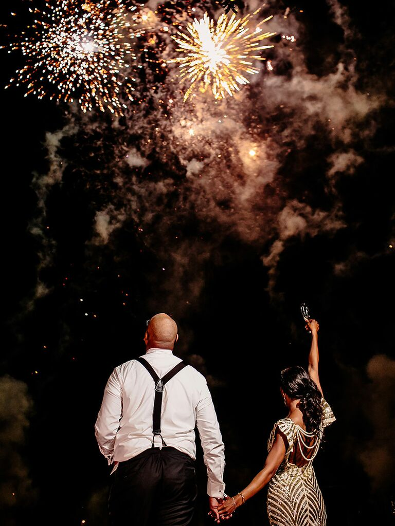 Firework show for wedding reception exit