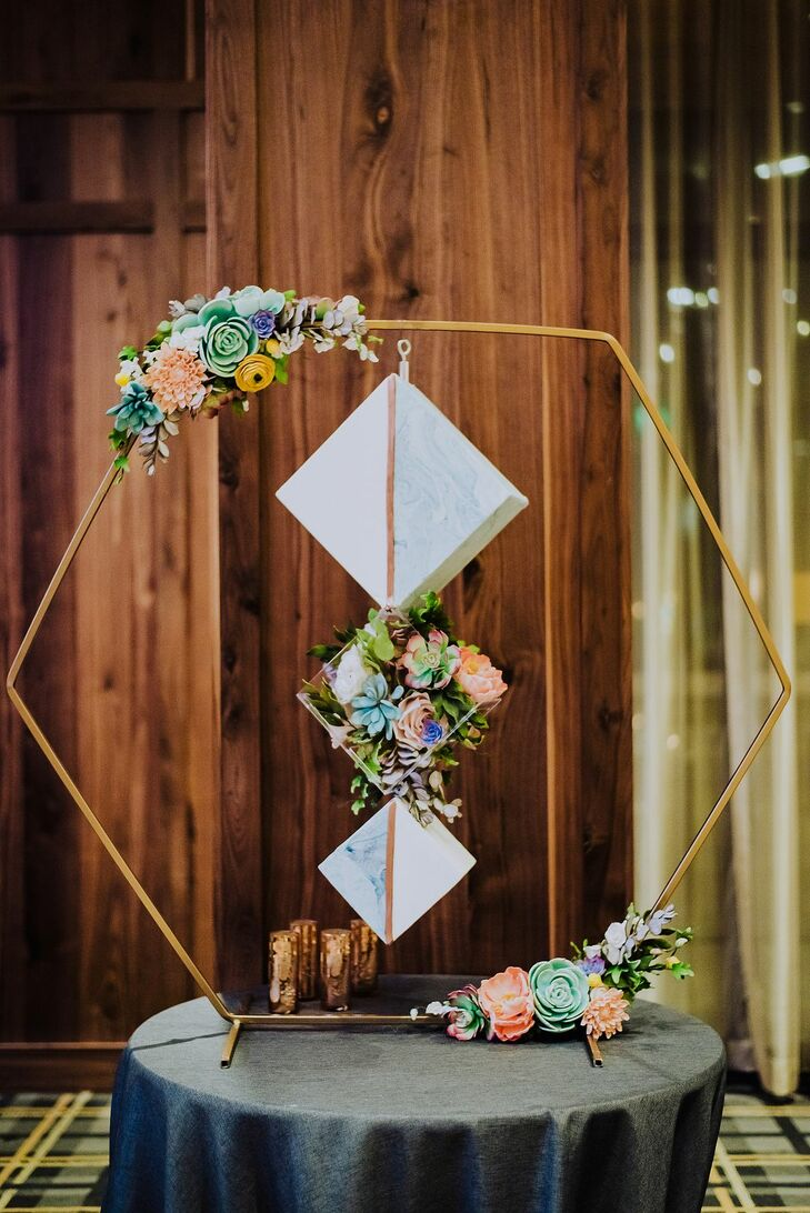 Modern Geometric Decoration with Colorful Succulents