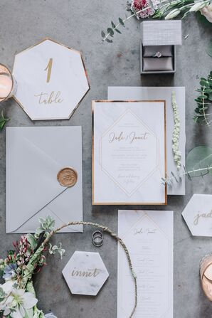 Sophisticated Geometric Stationery with Gold Accents