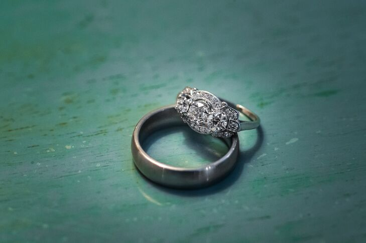 """""""The engagement ring is a 1920s European estate piece from Alexandria Rossoff in downtown Seattle. I looked at modern conflict free rings, but quickly became enchanted with antique options,"""" says Liz."""