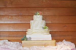 White and Champagne Detailed Wedding Cake