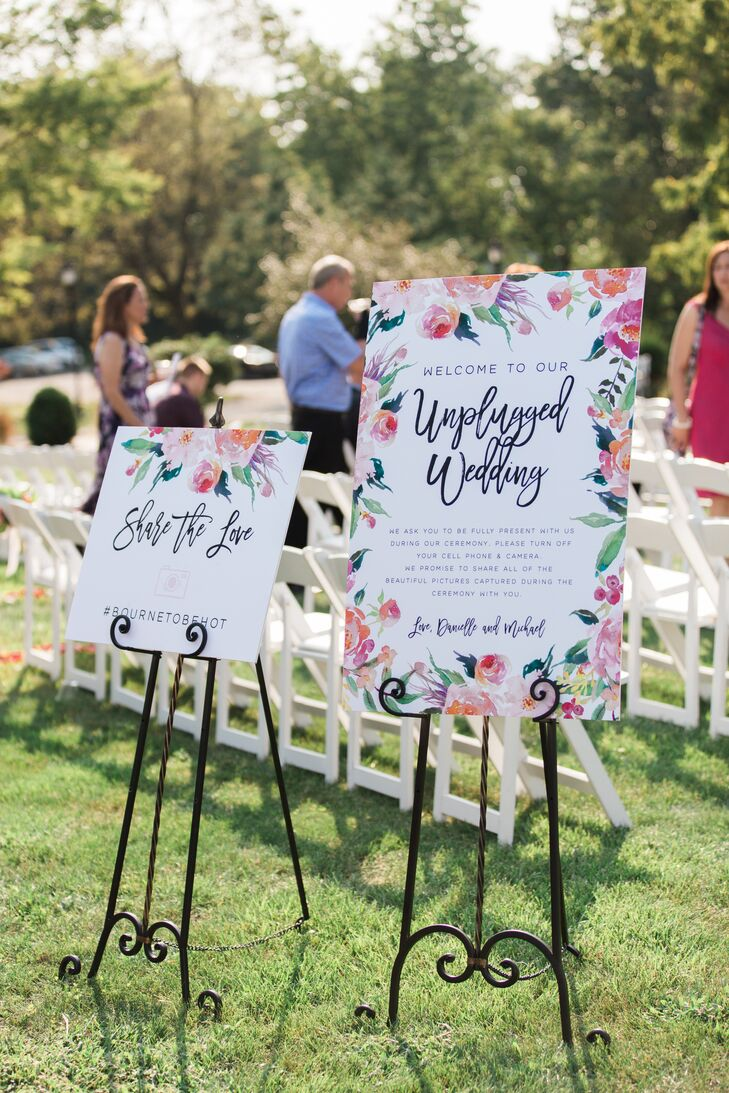 Bright Botanical Signage for Unplugged Ceremony