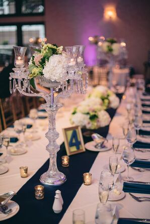 Candles in Glass Candelabra with Hydrangeas