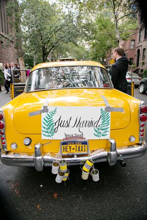 Newlywed Exit in a Classic New York Taxi