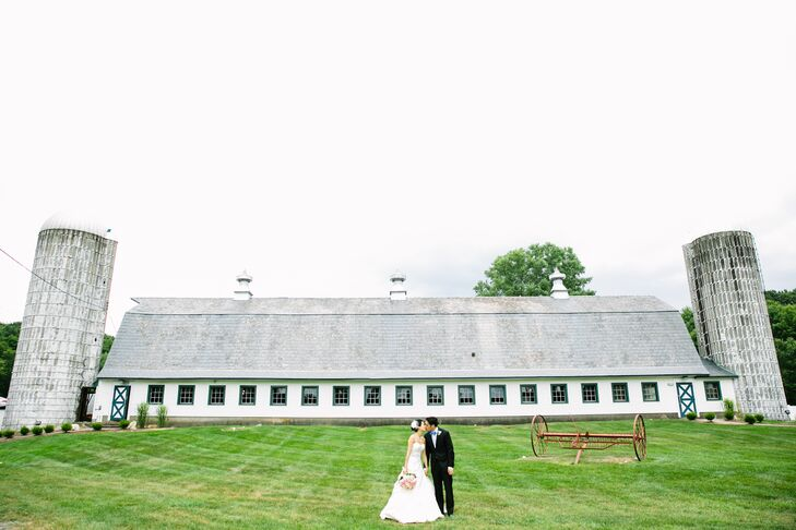 Bride and Groom on Farm Landscape