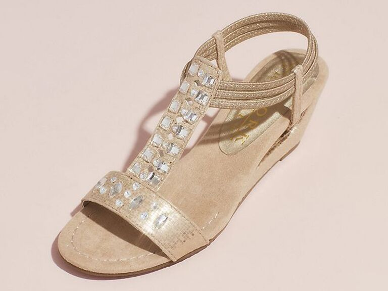 Gold jeweled comfortable wedding wedges