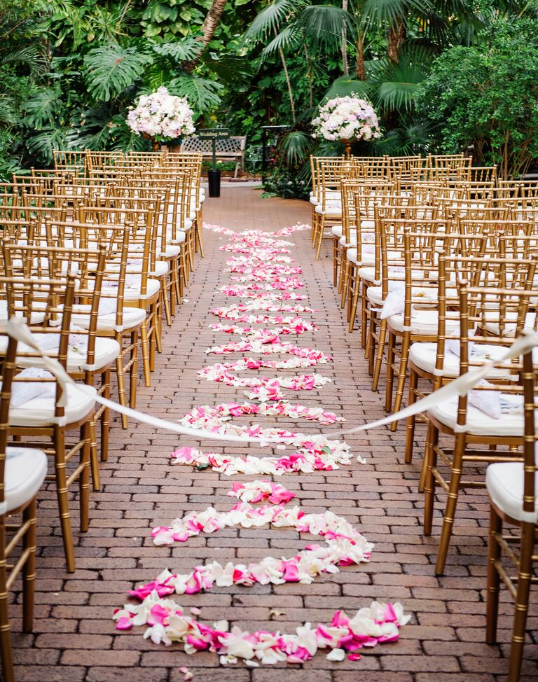 White And Pink Flower Petal Aisle Design