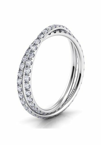 Danhov Eleganza Diamond Braid Band Platinum Wedding Ring