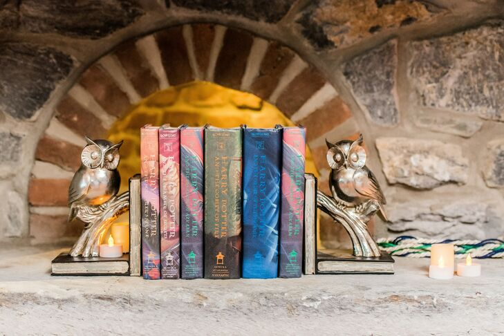 Harry Potter Book Display with Owl Bookends