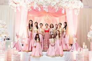 Traditional Mandap with Pink Fabric and Orchids