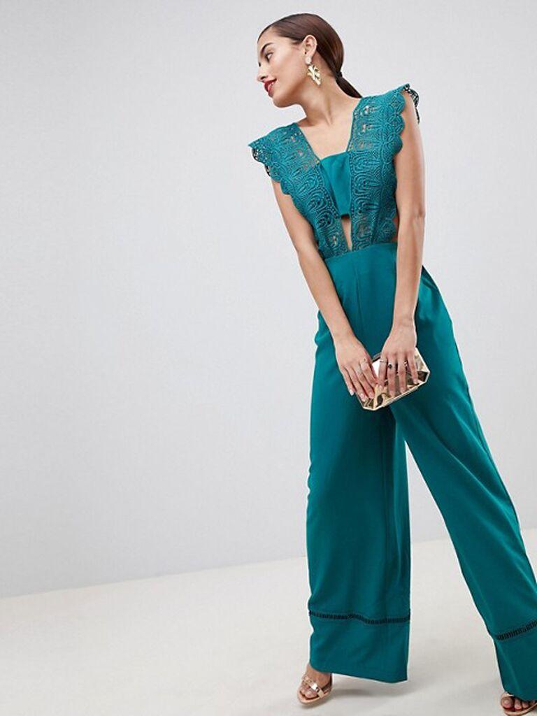 asos turquoise lace top jumpsuit